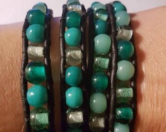 Wrap black leather bracelet