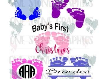 Baby's First svg,Baby feet svg,baby feet monogram,Christmas svg,Baby's first Christmas svg, monogram frame,ornament svg,baby monogram,baby