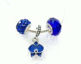 Royal Blue Orchid Dangle Charm Murano Crystal Beads Set Fit Pandora European Bracelets