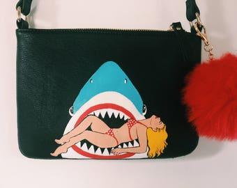 Hand Painted Shark Bag