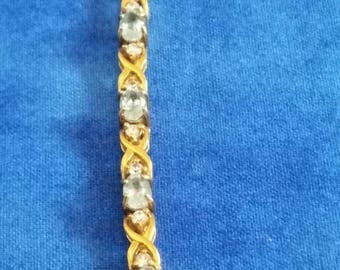 "BR-026: 13.9g Vintage Solid Silver Gold Gilt Prong Set Blue Stone and CZ Hinged Link 7.5"" Sterling Bracelet"