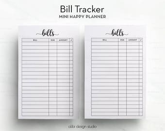 Bill Tracker, MINI Happy Planner, Planner Printable, MINI MAMBI, Financial Planner, Bills Calendar, Monthly Tracker, The Happy Planner