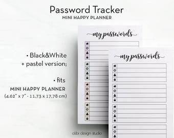 Password Tracker, MINI Happy Planner, Password Printable, Password Keeper, Password Log, MINI MAMBI, Password Journal, Printable Planner