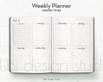 B6 TN, Weekly Planner, Week on 2 Pages, Midori B6, Travelers Notebook, Midori Inserts, Daily Planner, TN Inserts, Midori, Daily TN