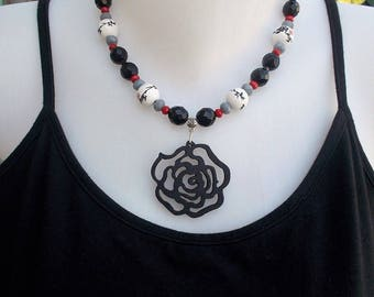 Black and white necklace with large black flower wooden Asian style necklace with Chinese ceramic beads