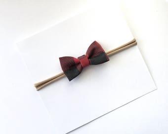 Mini Bow Headband- Baby Girl Headband- Nylon Headband- Baby Bow- Toddler Hair//RED PLAID