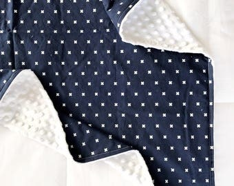 Minky Baby Blanket- Navy Blue Minky Blanket- Baby Boy- Swiss Cross- blue, navy, cross, x