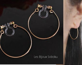 Gold Hoop Clip On,Silver Hoop Clip On, Non Pierced Earrings, Hoop Clip Earring, Invisible Clip On, Hoops Clip On, Genuine Silver Clips