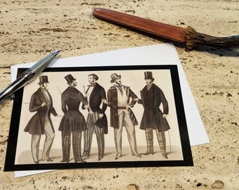 cinq Messieurs Vintage Men's Fashion Etching Image Oversized Stationery Notecard with Envelopes:  Set of 10