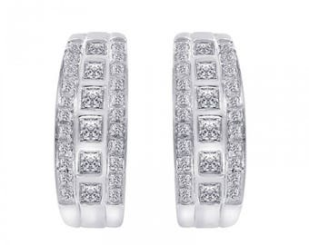 1.50 Carat Round and Princess Diamond Hoop earrings 14K White Gold