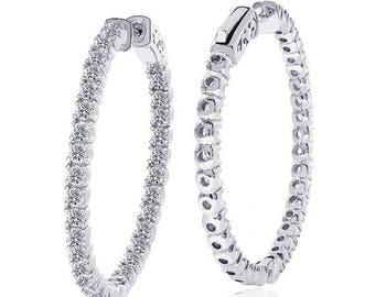 ON SALE 3.50 Carat Micro Pave Hoop Earrings set it Platinum over Silver