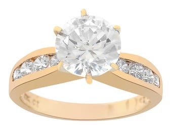 2.50 Carat Round Cut CZ Engagement Ring 10K Yellow Gold