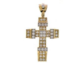 15.00 Carat Round Cut Cubic Zirconia Cross Pendant 10K Yellow Gold