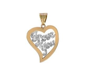 0.10 Carat Diamond Accent 'I Love You' Heart Pendant 14K Yellow Gold