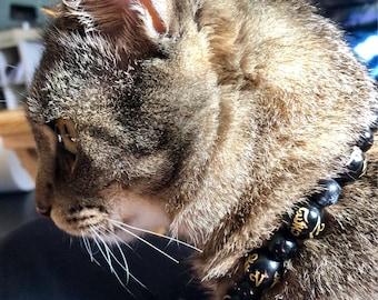 Karma Kat collar Buddha and Tibetan script beads