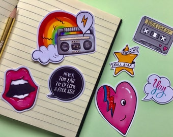 Cute Sticker Pack/ Music/ Bowie/ 90s/  Trendy/ Laptop Stickers/ Planner Stickers