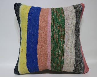 20x20 Decorative Kilim Pillow Sofa Pillow 20x20 Cotton Kilim Pillow Ethnic Pillow Washable Outdoor Kilim Pillow Cushion Cover SP5050-2467