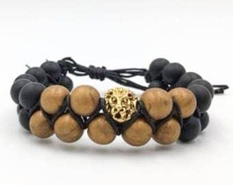 Mens Adjustable Bead Bracelet