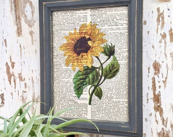 5x7 | Sunflower | Sunflower Picture | Sunflower Lover | Sunflower gift | Flowers | Fower Gift | Gift for Friend | Re-purposed Dictionary