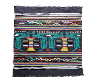 Embroidered Textile Mexican Folk Art Handmade Panel Birds Wall Hanging Decor