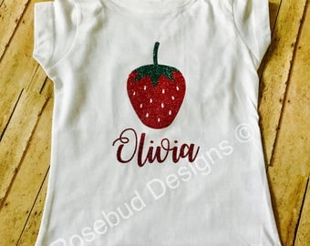 Girls strawberry glitter tshirt or tank with name