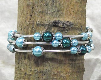 Dreamy Light Blue and Greenish Dark Blue Faux Pearl and Silver 3 Loop Memory Wire Bracelet