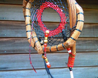 red and black Dream Catcher,grapevine dream catcher,handmade dream catcher,natural dream catcher,single dream catcher,beaded dream catcher
