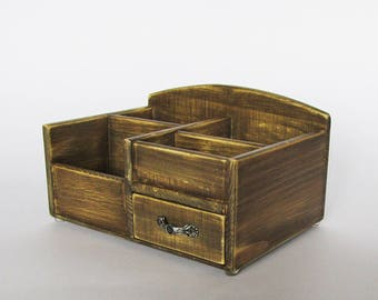 Desk Organizer Office Organizer Pencil Cup Office Decor Caddy Tools Office  Supplies Holder Distressed Finish