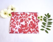 Moyenne pochette corail et rouge, motif imprimé à la main en sérigraphie.