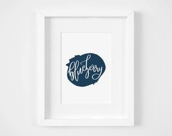 Blue Wall Art for Kitchen | Illustration Print | 5x7 Graphic Art Print | Blueberry Art Print | Kitchen Wall Art | Blueberry Wall Art
