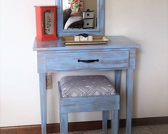 Simple Distressed Makeup Vanity