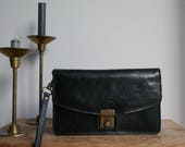Black leather wristlet purse / small black purse with adjustable wrist strap - vintage