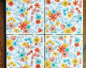 May Flowers Tile Coasters
