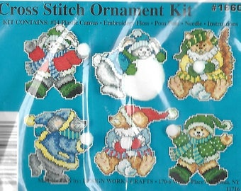 "Design Works ""FA-LA-LA Ornaments"" plastic canvas Christmas ornaments kit #1660"