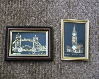 Set of 2 Pictures Big Ben by Ammon of London Handcrafted Horological Collage Art