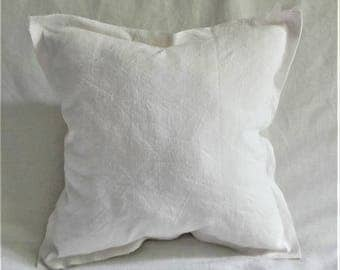 """Pillow """"Raw"""" collection """"CAP FERRET"""" in old french linen and frayed finish."""