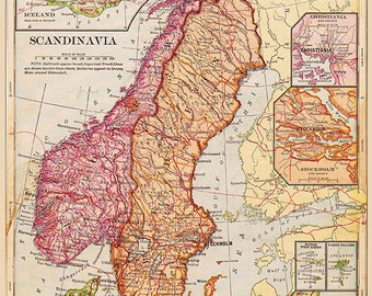 Multicoloured Vintage Scandinavia Map Poster