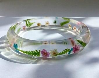 Fern resin bracelet,real flower bangle