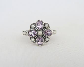 Vintage Sterling Silver Natural Amethyst & Seed Pearl Ring Size 6