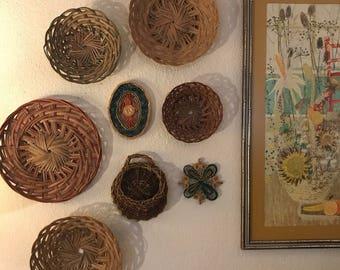 Vintage Wall Basket Set -Bohemian Decor/ Wall Hanging . Free Shipping