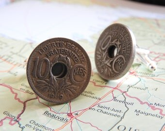 France 1919/1920/1935 centimes vintage coin cufflinks - made of coins from France - birth year - wedding gift - groom