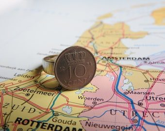 Dutch dime coin ring in your birth year 1948 - 1950 - 1951 - 1954 - 1955 - 1956 - 1957 - 1958 - 1959 nickel free