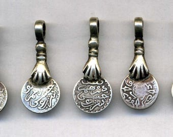 Antique Moroccan ethnic tribal (lot of 5) silver hands and coins  beads pendants