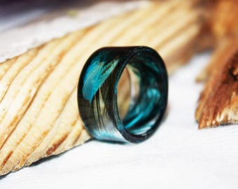 Blue Real Feather Ring, Inspirational Jewelry Romantic Ring Gift, Nature Inspired Ring Resin Jewelry, Promise Ring For Her, Gift for Women