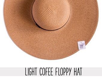 Light Coffee color hat - Large Size of head, Medium Size - Brim 7 inches - Custom, Personalized, Summer floppy hat