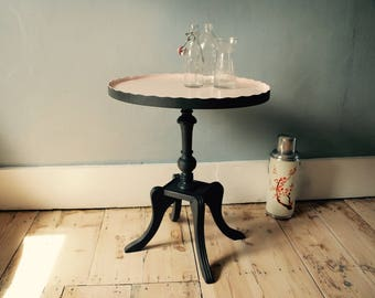 Sweet little side table, scalloped edge, hand painted blush pink and graphite grey, bespoke hand painted furniture