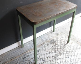 Vintage Industrial Metal table or Desk with Green legs