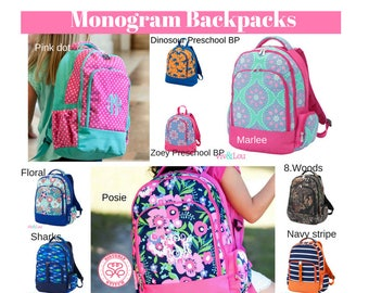 Monogram Backpacks/ Personalized Kids backpacks/ Monogram napsack/ Monogram girls backpack/mongram boys backpack/kids bookbag, summer camp