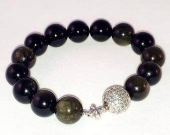 Obsidian Bracelet, Silver Cross, Silver Micro Pave Bead, Pave Bracelet, Gemstone Bracelet, CZ Diamond Beads Bracelet, Csdezigns