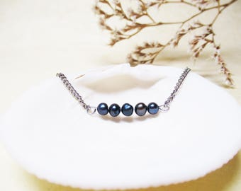 Freshwater Pearl Bracelet Minimalist Gemstone Bracelet Blue Freshwater Pearl Jewelry Minimalist Jewelry Delicate Bracelet Chain Bracelet